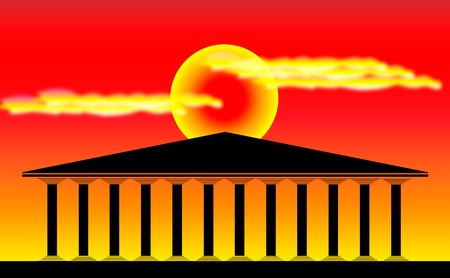 ancient roman: Greek temple at sunset background - illustration for design