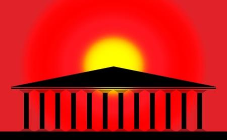 greco: Greek temple at sunset background - illustration for design