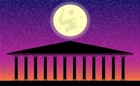 Greek temple at night- illustration for design Stock Vector - 10136224