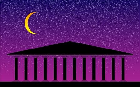 doric: Greek temple at night-  illustration for design