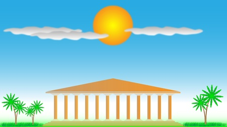 Templo griego - ilustración para el diseño. Día Foto de archivo - 10136221