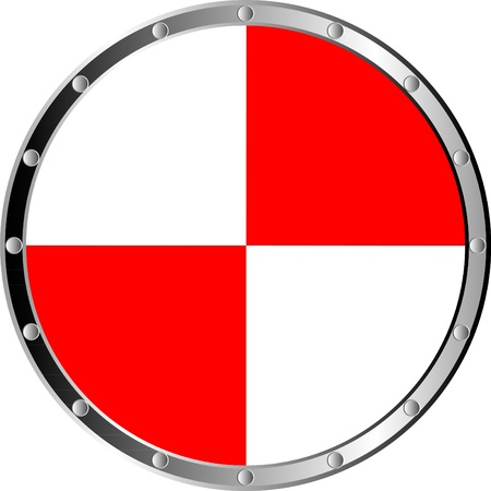 panoply: Round shield isolated on white background .
