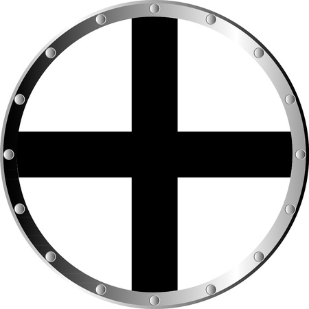 aegis: Round templar shield isolated on white background .