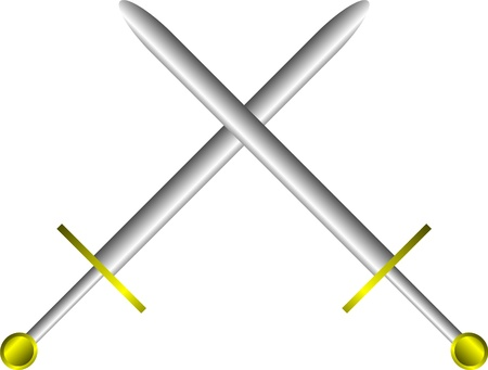 crusades: Steel swords on a white background.Illustration