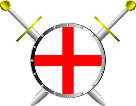Shield and swords isolated on white background Stock Vector - 10195709