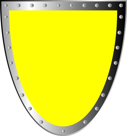 panoply: Yellow shield isolated on white background . Illustration