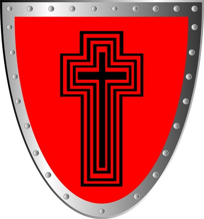 panoply: Red shield with cross isolated on white background .