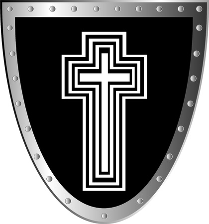 crusader: Black shield with white cross isolated on white background . Illustration