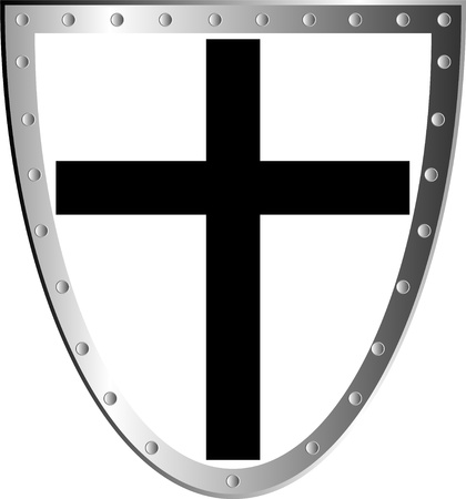 battle cross: Templar shield with cross isolated on white background .