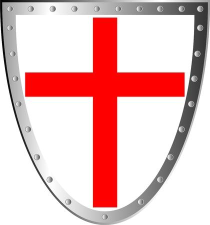 Bouclier avec Croix isolé sur fond blanc. Banque d'images - 10195711