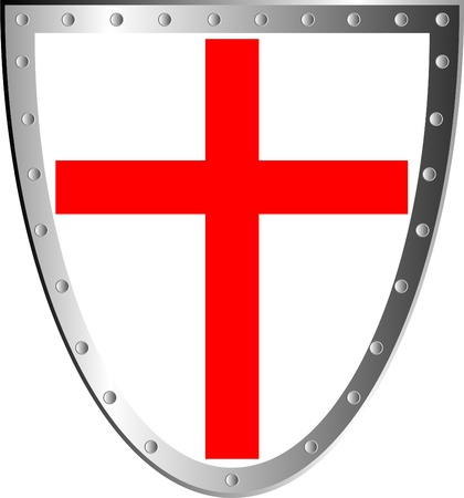 Shield with cross isolated on white background . Vector
