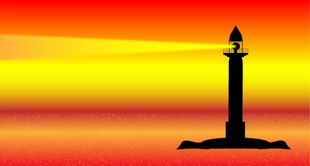 Seascape with lighthouse at sunset. Stock Vector - 10195717