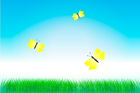 Nature background, green grass and yellow butterflies illustration Vector