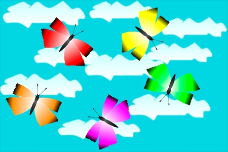 Five colorful butterflies fly in the sky Stock Vector - 10228746