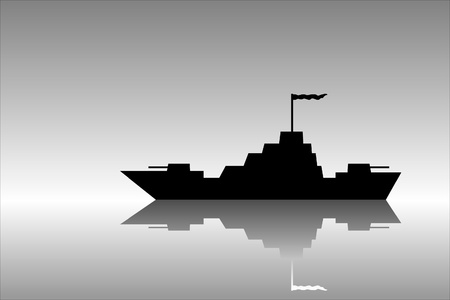 warship: Vector silhouette image of a warship .