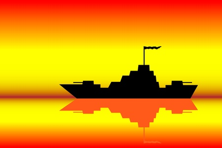 warship: Vector silhouette image of a warship at sunset