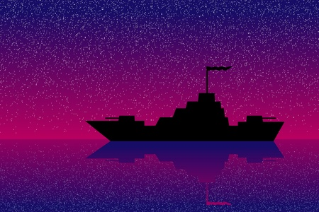 warship: Vector silhouette image of a warship at night Illustration