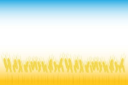 thresh: Orejas de trigo amarillo madura en un piso, ilustraci�n agr�cola Vectores