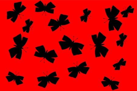 Butterflies silhouette on red background - vector Vector
