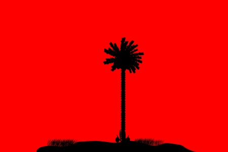 Silhouette of a tropical island on red background Stock Vector - 10253861