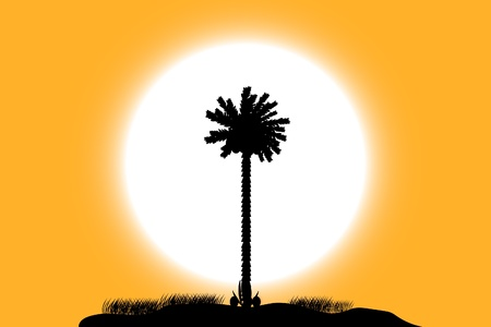 Silhouette of a tropical island on sunset background Vector