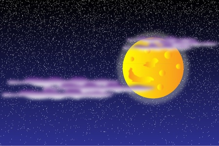Background with moon on the night sky Vector