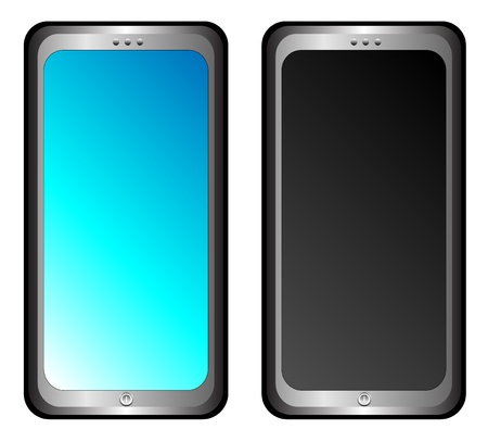 2 mobile phones or smartphones isolated on white Vector