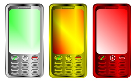 palmtop: 3 mobile phones isolated on white - vector illustration