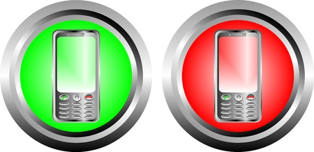 Two buttons with phone on a white background Stock Vector - 10262789