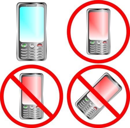 interdiction telephone: Signe de prohibition du t�l�phone mobile sur fond blanc