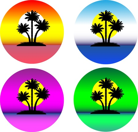 Set of the beautiful tropical islands isolated on white Stock Vector - 10275560