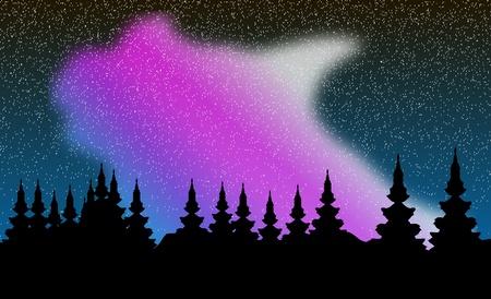 Aurora polaris over forest. Vector