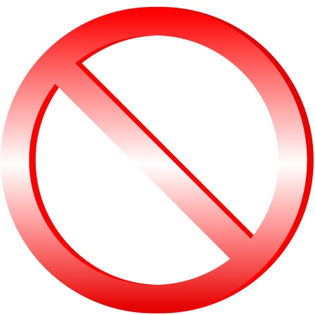 exclusion: Illustration of prohibited sign on isolated white background Illustration