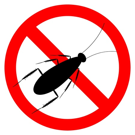 roach: Forbidding vector sign - stop cockroach isolated on white background Illustration