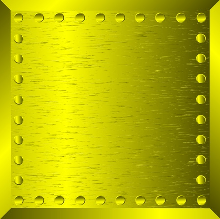 A gold metal background with rivets Stock Vector - 10313304