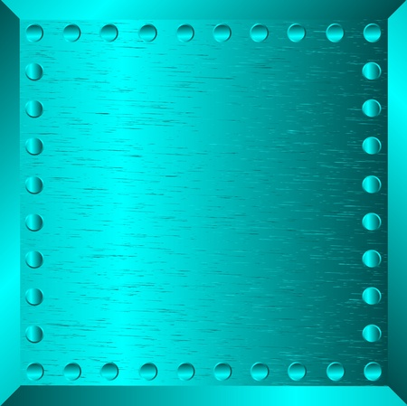A blue metal background with rivets  Illustration
