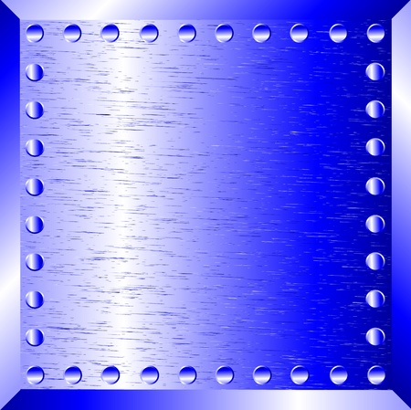 A blue metal background with rivets Stock Vector - 10313310