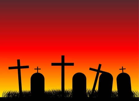 Silhouettes of black crosses on a cemetery. Evening Vector