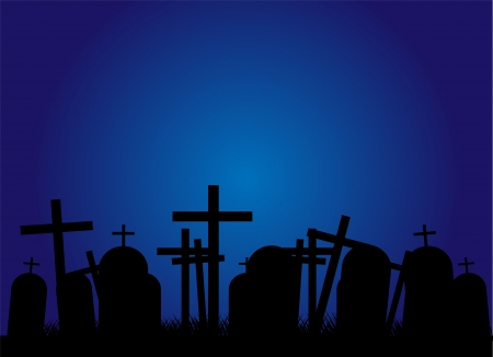 churchyard: Silhouettes of black crosses on a cemetery. Night Illustration