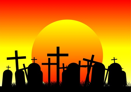 churchyard: Silhouettes of black crosses on a cemetery at sunset