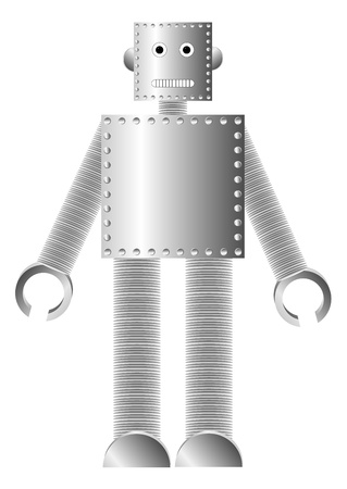Metal robot isolated on white background   Stock Vector - 10313305
