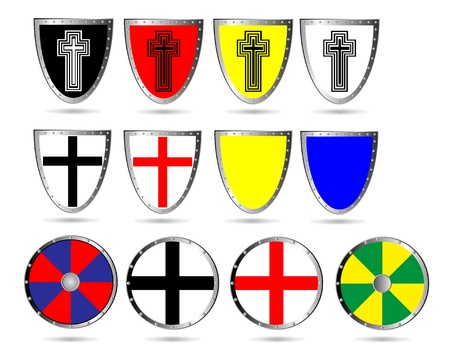 set of color medieval  shields isolated on white background. Vector