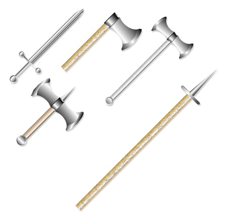 weapons: Set of medieval weapons isolated on white background Illustration