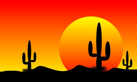 caricatura mexicana: Atardecer en el desierto de M�xico con las plantas de cactus Vectores