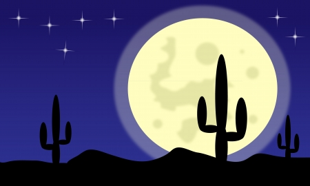 Mexico desert with cactus plants and big moon Vector