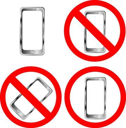 Mobile phone prohibition signs on white background Vector