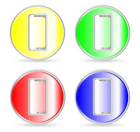 Phone, contact us icon, button. illustration Vector