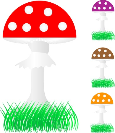 A collection of fly agaric mushrooms in the grass Stock Vector - 10356756