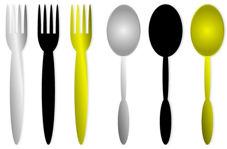 to consume: Spoons and forks isolated obn white background