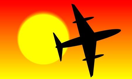 ciel rouge: Avion dans le ciel rouge et le soleil